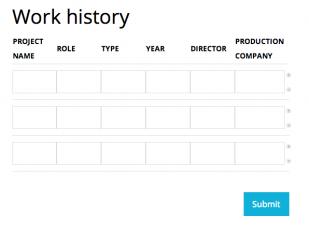 Displaying Work History